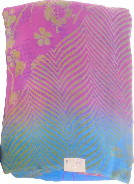 SMSAREE Multi Color Designer Wedding Partywear Pure Crepe Hand Brush Reprinted Saree Sari With Blouse Piece RP74