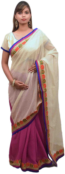 Cream Wine Designer Saree Sari With Stylish Blouse