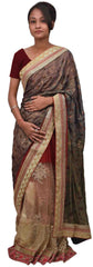 Blue Red & Cream Designer Georgette ( Viscos) & Net Sari Saree