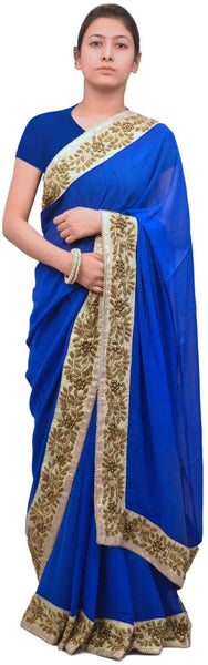Blue Designer Georgette (Viscos) Hand Embroidery Stone Zari Pearl Thread Work Sari Saree