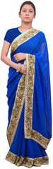 Blue Designer Georgette (Viscos) Hand Embroidery Work Sari Saree