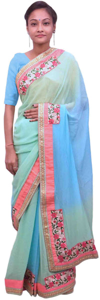 Blue Green Designer Georgette (Viscos) Hand Embroidery Work Sari Saree