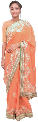Orange Designer Bridal Georgette Sari Zari, Sequence, Cutdana & Pearl Hand Embroidery Work Saree