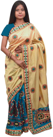 Cream & Blue Designer Party Wear Silk Hand Embroidery Thread Work Saree Sari E367
