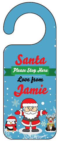 "Personalised Christmas ""Santa Stop Here"" Door Hangers"