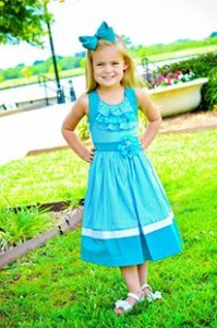 Girls turquoise green summer dress