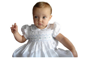 Little baby Elegant white dress with blue smocking
