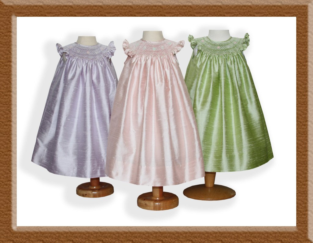 Girls coordinated triplets silk hand smocked dresses