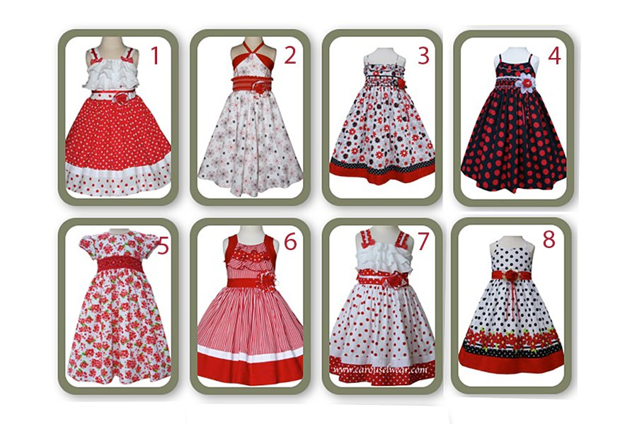Girls red dresses with polka dots, stripes and ruffles