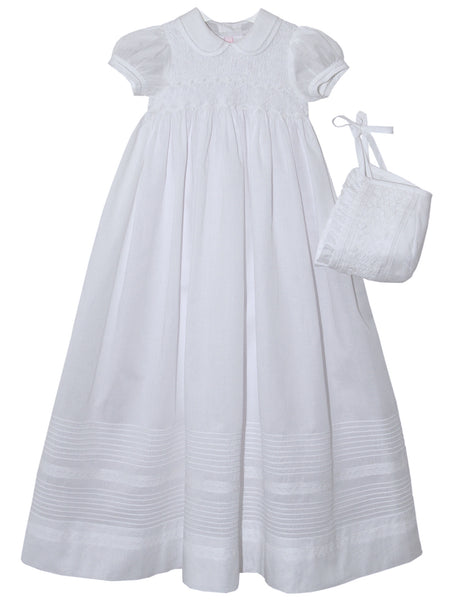 Beautiful White Maribel Baby Girls Christening Gown and Bonnet--Carousel Wear - 1