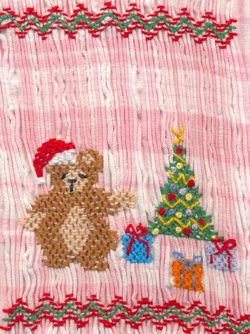Girls Pink Smocked Dress with Christmas Tree and Bear--Carousel Wear - 2