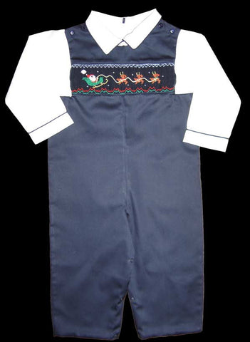 One free with a $100 purchase,  Boys Christmas smocked overalls,  shirt is not included--Carousel Wear - 2