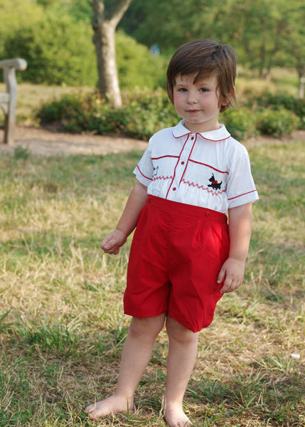 Boys Smocked Scottie Dogs Prince Philip Buttons on Shorts--Carousel Wear - 1