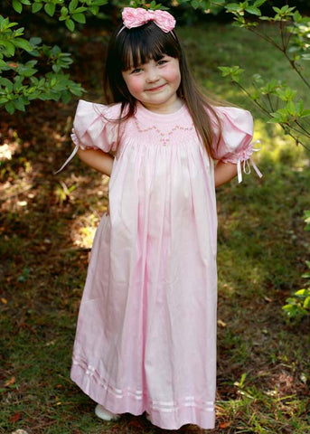 Baby Girls Smocked Pink Dress Bishop with Ribbons--Carousel Wear - 1
