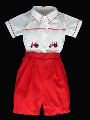 Boys Smocked Tractor Buttons on Shorts White and Red--Carousel Wear