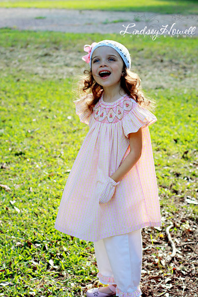 Girls Summer Bishop and Capri Pants Set Hand Smocked 24 mos.--Carousel Wear