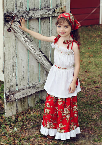 Girls smocked summer red girls top, skirt, bandana and short set--Carousel Wear - 2