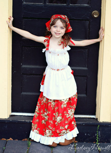 Girls smocked summer red girls top, skirt, bandana and short set--Carousel Wear - 1
