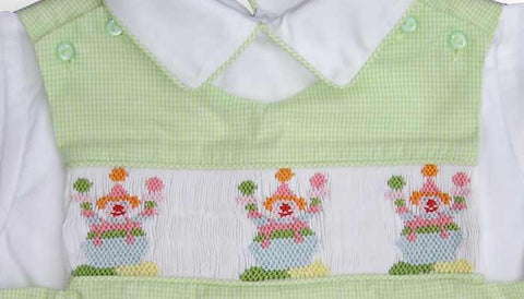 Toddler Boys Smocked Birthday Clown Shortall or Longall with Shirt--Carousel Wear - 2