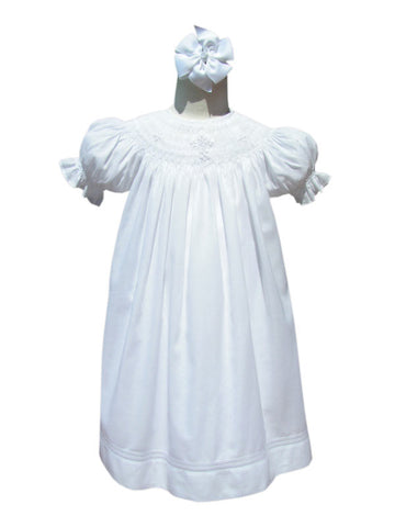 Hand Smocked Crosses Christening White Baby Girls Dress--Carousel Wear - 1