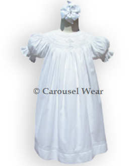Hand Smocked Crosses Christening White Baby Girls Dress--Carousel Wear - 2