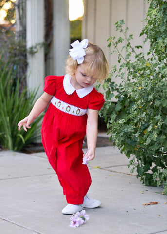 Adorable Girls Christmas Red Jumper Overalls Dress--Carousel Wear - 2