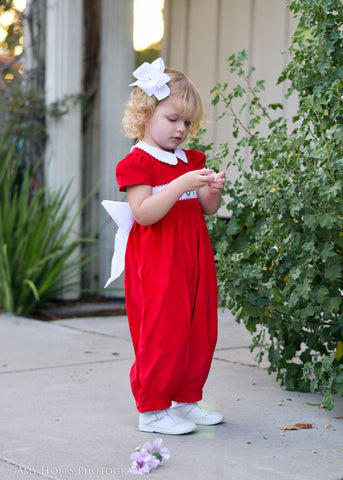 Adorable Girls Christmas Red Jumper Overalls Dress--Carousel Wear - 1