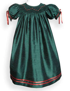 Girls green silk Christmas dress--Carousel Wear