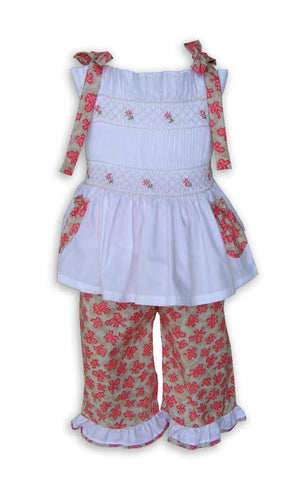 Girls Spring Summer Ruffle Capri Smocked Set--Carousel Wear - 2