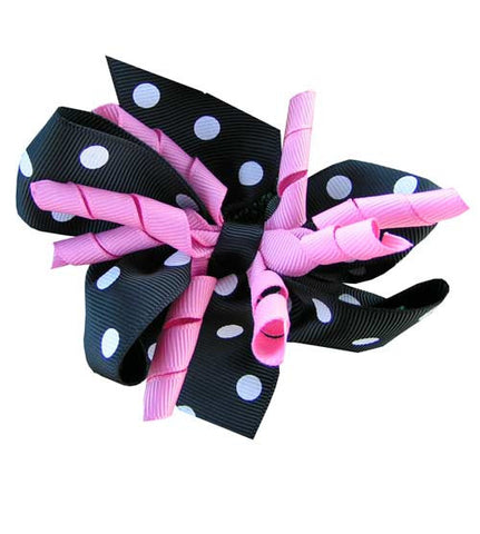 Girls Black Polka Dot Hair Bow--Carousel Wear - 2