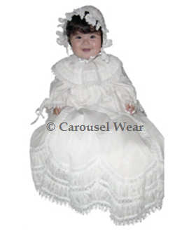 Heirloom Lace Christening Girls Gown--Carousel Wear - 1