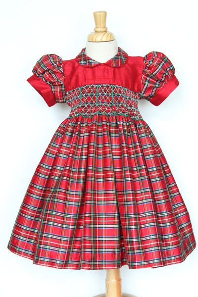 Girls Silk Red Tartan Smocked Christmas Day Dress--Carousel Wear - 1