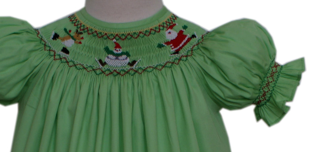 daa12af93 Girls Christmas Bishop Dress with Smocked Santa and Reindeer