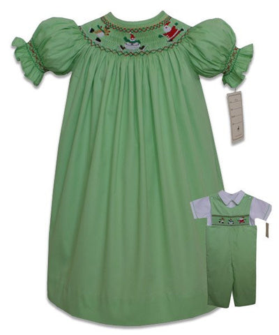 Smocked Santa and Reindeer Christmas Girls Dress--Carousel Wear - 1