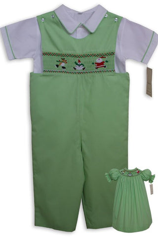 Boys smocked Santa and Reindeer on ice Christmas overalls--Carousel Wear - 2