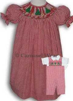 Red Gingham Smocked Christmas Trees Girls Dress--Carousel Wear - 2