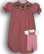 Red Gingham Smocked Christmas Trees Girls Dress--Carousel Wear - 1