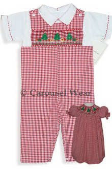 Red gingham Christmas Tree Longall--Carousel Wear - 2