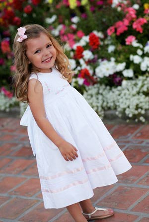 Baby Girls Sleeveless white smocked dress--Carousel Wear - 1