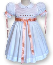 Baby Girls White Smocked Dress with Melon Ribbons--Carousel Wear - 1