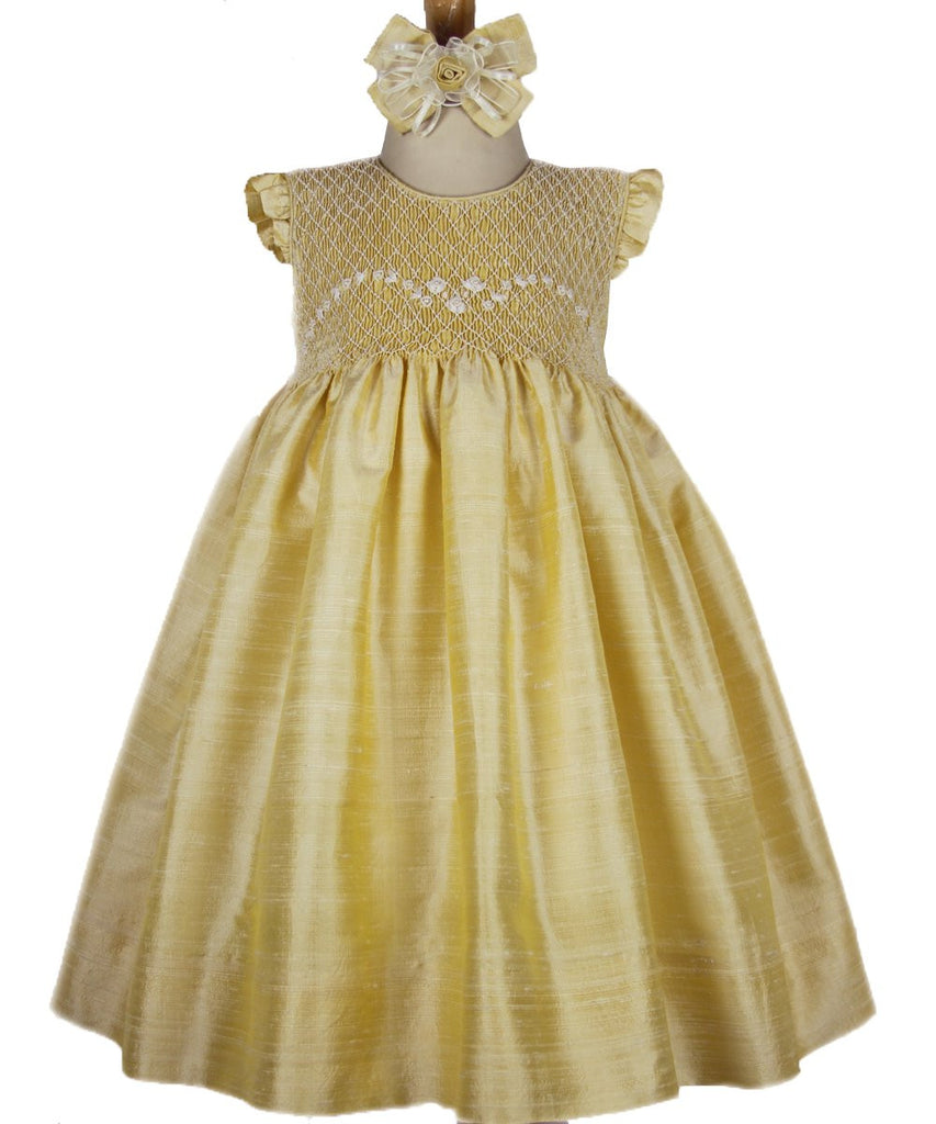 Summer Golden Silk Smocked Sleeveless Flower Girls Dress