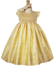 Summer Golden Silk Smocked Sleeveless Flower Girls Dress--Carousel Wear - 1