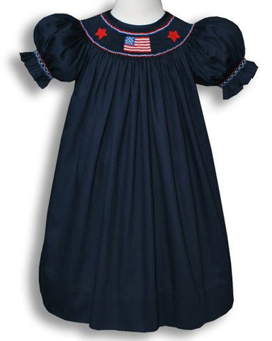 Girls Patriotic Bishop Dress with Smocked Flag in Navy 4th of July--Carousel Wear - 2