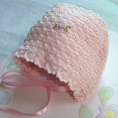Crochet Pink Baby Girls Bonnet 0-3m--Carousel Wear - 2