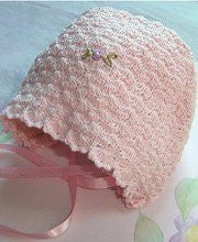 Crochet Pink Baby Girls Bonnet 0-3m--Carousel Wear - 1