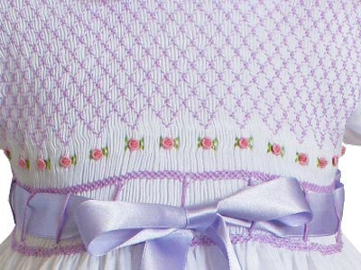 Baby Girls White with Lavender Ribbons Smocked Dress--Carousel Wear - 2
