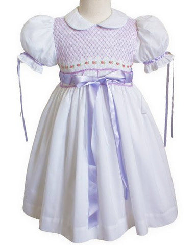 Baby Girls White with Lavender Ribbons Smocked Dress--Carousel Wear - 1