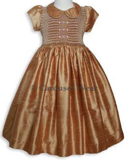 Elizabeth Fall Thanksgiving Golden Silk Smocked Baby Girls Dress--Carousel Wear - 2