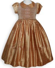 Elizabeth Fall Thanksgiving Golden Silk Smocked Baby Girls Dress--Carousel Wear - 1