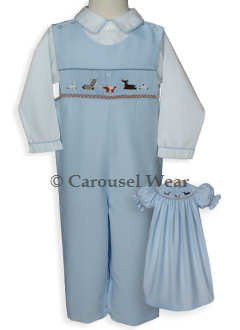 Nativity Smocked Boys Overalls Longall Free with Purchase of $100 shirt not included--Carousel Wear - 2